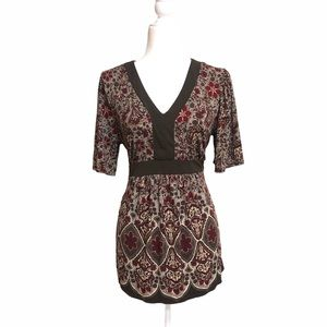 Maternity peasant blouse top brown floral pretty